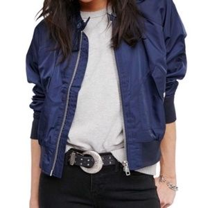 New Free People Midnight Navy Bomber Jacket M